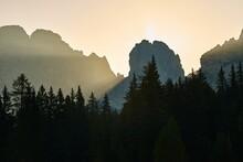 Sunrise Between Mountain Cliffs