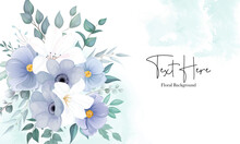 Beautiful Floral Background With Elegant Navy Blue And White Flower