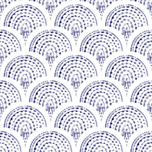 Seigaiha Seamless Watercolor Pattern. White And Blue Wavy Print For Textiles. Shibori Ornament. Vector Illustration.