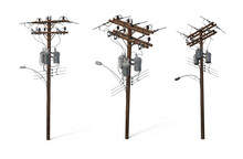 Electric Poles. Utility Wires For Electrical Power Distribution In City, Cable Television, Telephone. Urban Design Concept. Isolated White Background 3d Illustration Different Angle View Realistic Set