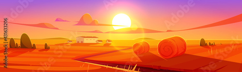 Fotografie, Obraz Sunset scenery rural landscape, field with hay stacks and farm buildings under colorful cloudy sky