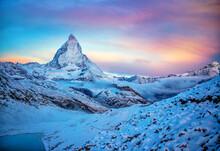 Zermatt, Matterhorn On A Snowy Morning At Sunrise