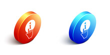 Isometric Information Icon Isolated On White Background. Orange And Blue Circle Button. Vector
