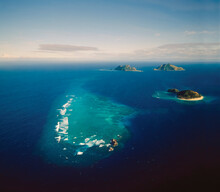 Aerial Of A Group Of Pacific Atolls And Reef - Part Of The Fiji Island Group