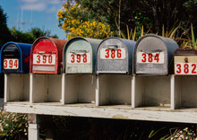 Row Of Letterboxes In Rural Setting