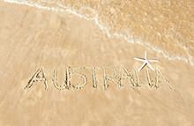 The Word Australia Written In The Sand