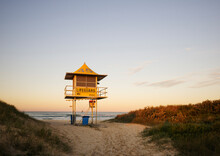 Late Afternoon Shot Of Lifeguard Tower On Empty Beach
