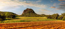 Looking Across Horticultural Land At Mount Tibrogargan, Glasshouse Mountains National Park - Sunshine Coast
