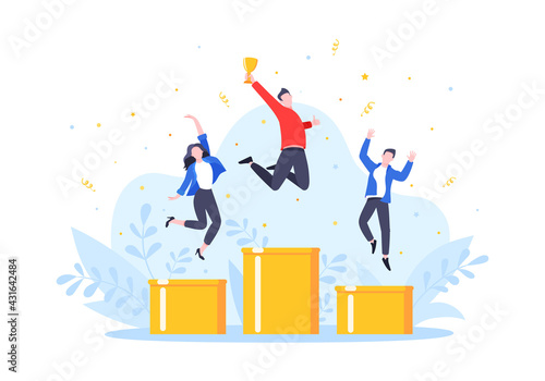 Canvas Print People standing on the podium rank first three places, jumps in the air with trophy cap