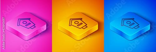 Isometric line Bird house icon isolated on pink and orange, blue background Fototapeta