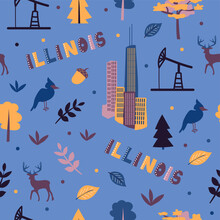 USA Collection. Vector Illustration Of Illinois Theme. State Symbols - Seamless Pattern