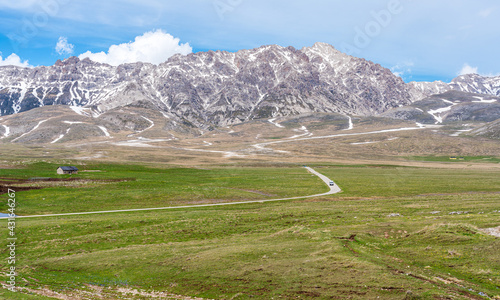 Fotografie, Obraz Panoramic view of Campo Imperatore and the Gran Sasso massif in the Gran Sasso National Park