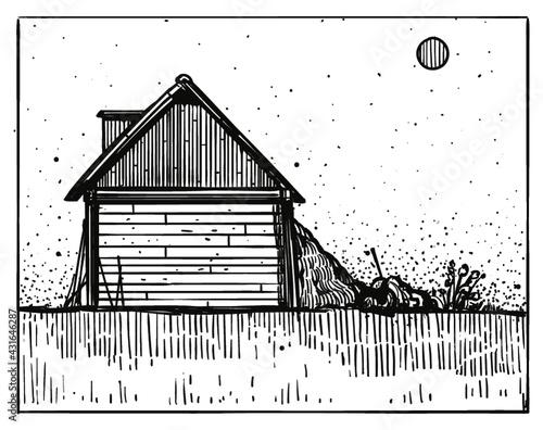 Fototapeta House in countryside engraving style illustration. Vintage style. Vector. obraz