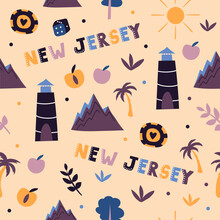 USA Collection. Vector Illustration Of New Jersey Theme. State Symbols - Seamless Pattern