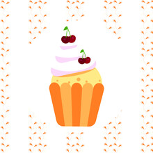 Vector Illustration . Cupcake With Delicate Cream And Cherries . Abstraction On The Background Of Branches . Vector Banner For Cardboard Box . Sweets To Go .