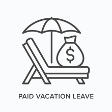 Paid Vacation Flat Line Icon. Vector Outline Illustration Of Money Bag, Umbrella And Sun Lounger. Black Thin Linear Pictogram For Employee Leave