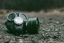 Closeup Of The Old Gas Mask Lying At The Ground