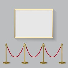 Golden Frame For Picture With Gold Stanchions Barrier. Mock Up Template For Famous Painting Vector Illustration. Realistic Scene With Fence And Wall Indoor On White Background