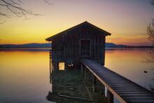 Lake Houses At Lake Kochel In The Bavarian Alps, Germany