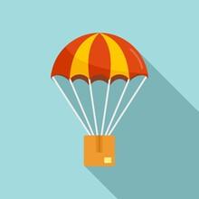Parachuting Parcel Icon, Flat Style