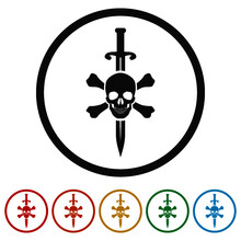 Icon Sign Sword And Skull Color Set