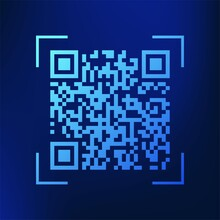 Blue Technology QR Code Symbol. Qrcode Payment Scanning Vector Icon