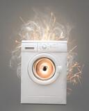 Fototapeta Miasto - Faulty Washing machine going crazy