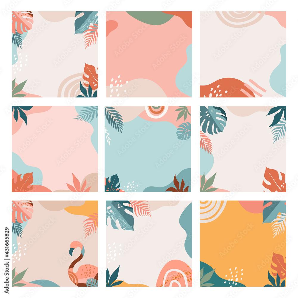 Obraz Bohemian Summer, set of modern summer sale post design with rainbow, flamingo, pineapple, ice cream and watermelon  fototapeta, plakat