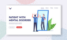 Patient With Mental Disorder Landing Page Template. Low Self Esteem, Loathing And Anger. Character Mind Health Problem
