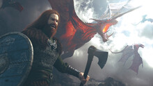 Big Dragons In A Battle With A Viking Holding An Axe And Shield In A Cloudly Day Fighting - Concept Art - 3D Rendering