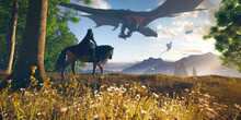 King Riding Horse Through A Spring Grass And Trees In Mountains With Flying Big Dragons - Concept Art - 3d Rendering
