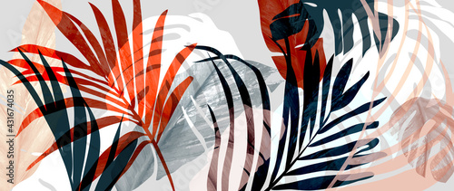 Fototapeta Abstract art tropical leaves background vector. Wallpaper design with watercolor art texture from palm leaves, Jungle leaves, monstera leaf, exotic botanical floral pattern. Design for banner, cover,  obraz
