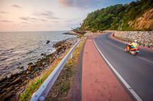 Hat Kep Tawan Viewpoint With Beautiful Sea And Landscape Of Chaloem Burapha Chonlathit Road. It Is Long Rock Beach In Na Yai Am, Chanthaburi, Thailand.