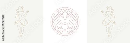 Fotografiet Magic woman head and female leo zodiac in boho linear style vector illustrations