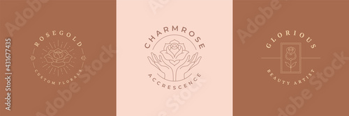 Flowers logos emblems design templates set with botanical plants and rose vector illustrations minimal linear style - fototapety na wymiar