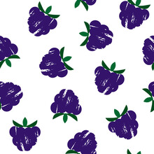 Blackberry Textured Pattern, Great Design For Any Purposes. Isolated Stock Vector Illustration With A Clipping Mask. Abstract Tetured Blackberries With Leaves On A White Background.
