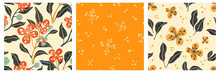 Set Of Seamless Floral Patterns In The Style Of A Punch Needle. Embroidery Print For Home Decor. Vector Illustration.