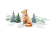Leinwandbild Motiv Fox animal in winter landscape. Watercolor illustration. Wild cute red fox in winter forest. Festive image print. Furry animal with red fur on white snow and fir trees. Side view forest animal