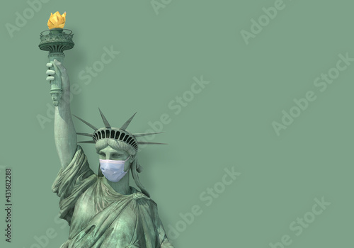 Statue of Liberty with Covid Mask - fototapety na wymiar