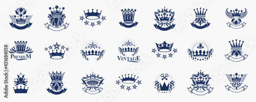 Obraz na plátně Heraldic Coat of Arms with crowns vector big set, vintage antique heraldic badges and awards collection, symbols in classic style design elements, family or business logos