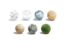 Blank Nature Textured Ball Mockup Set, Isolated