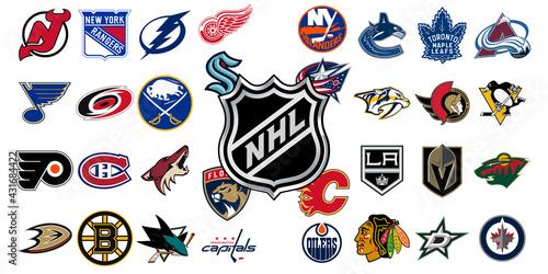 Fototapeta premium Logo of all national hockey league teams. NHL team icons. Set all the new hockey teams logos. Vector eps illustration.