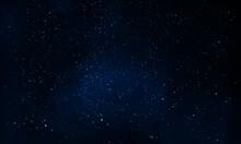 Dark Starry Foggy Night Sky, Vector Art Illustration.