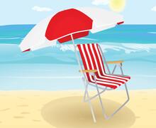 Chair And Sun Umbrella On Beach. Vector