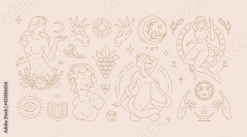 Fototapeta Magic woman boho vector illustrations of graceful feminine women and esoteric symbols set. obraz