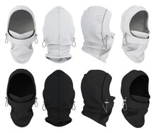 3d Realistic Balaclava Set In Black And White Color. Blank Template, Mock Up For Print Presentation. Warm Hat, Buff, Hat, Hood.
