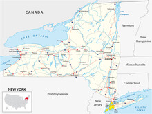 Road Map Of The US American State Of New York