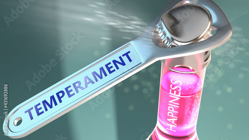 Obraz na plátne Temperament open the way for happiness - shown as a happy bottle opened by Tempe