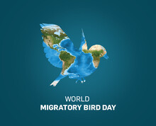 World Migratory Bird Day Concept. 8th May World Migratory Bird Day (WMBD). Bird Isolated On World Map.