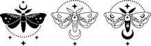 Mystic Moon Moth Modern Abstract Art Print. Moon Moth, Stars, Luna Phases. Boho Style. Sacred Symbol. Isolated Elements. Magic Mystic Esoteric Minimalist Concept Logo Tattoo